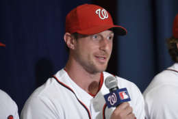 Washington Nationals' Max Scherzer speaks during a baseball press conference to unveil the 2018 MLB All-Star Game logo, Wednesday, July 26, 2017, in Washington. (AP Photo/Nick Wass)