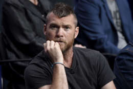 """Sam Worthington participates in the """"Manhunt: Unabomber"""" panel during the Discovery Channel Television Critics Association Summer Press Tour at the Beverly Hilton on Wednesday, July 26, 2017, in Beverly Hills, Calif. (Photo by Chris Pizzello/Invision/AP)"""