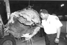 U.S. Customs official Oliver Seymour inspects the largest piece of the downed Skylab at the San Francisco International Airport, Ca., Wedenesday night, July 25, 1979.  The one-ton piece wreckage was found in Australia two weeks ago.   (AP Photo)