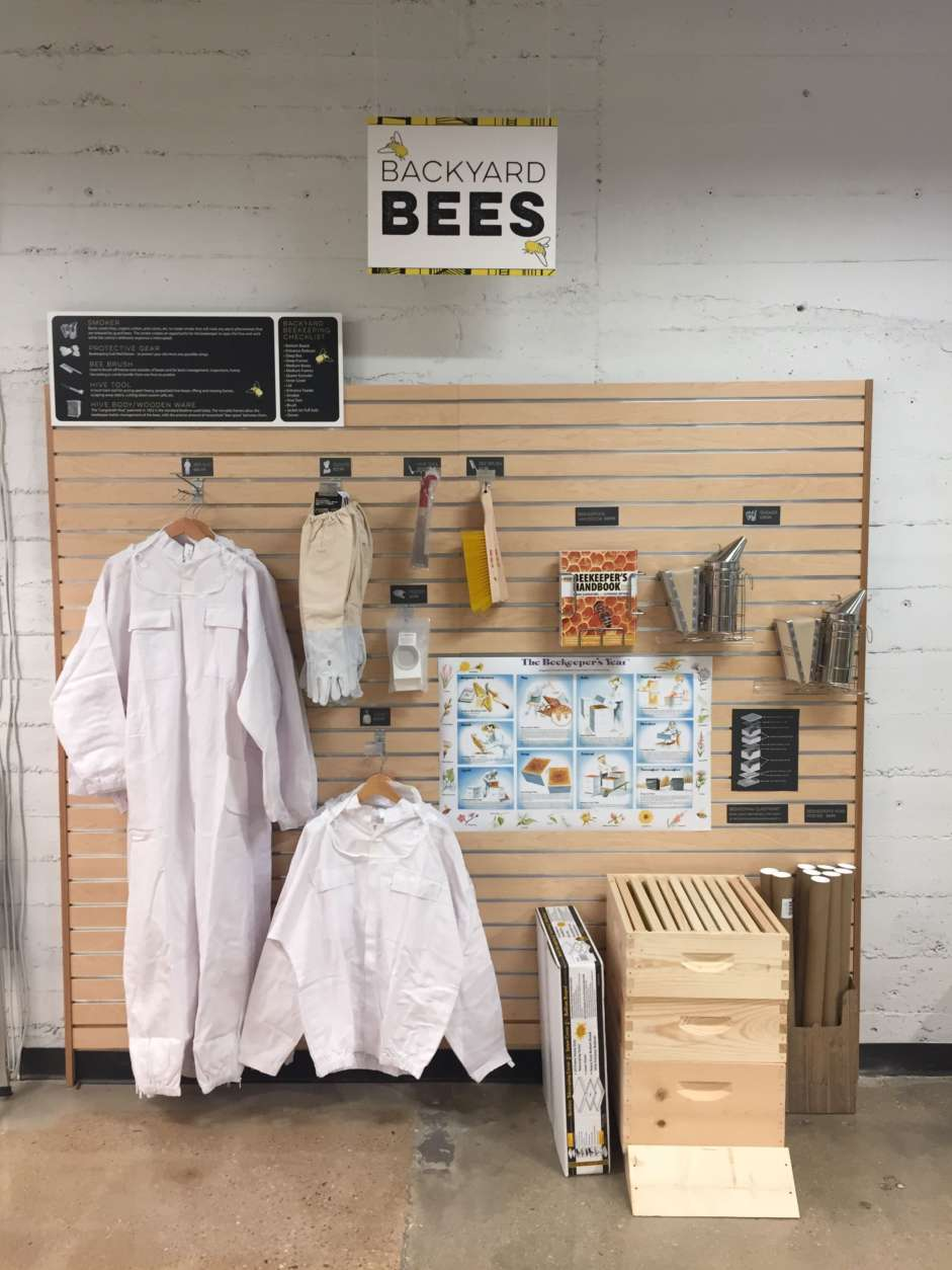 """""""It is a new initiative of ours this year to put beekeeping sections in stores where we can,"""" MOM's founder Scott Nash told WTOP. """"We're putting them in our stores to bring attention to backyard beekeeping and to show that anyone can do it,"""" he said. (Courtesy MOM's Organic Market)"""