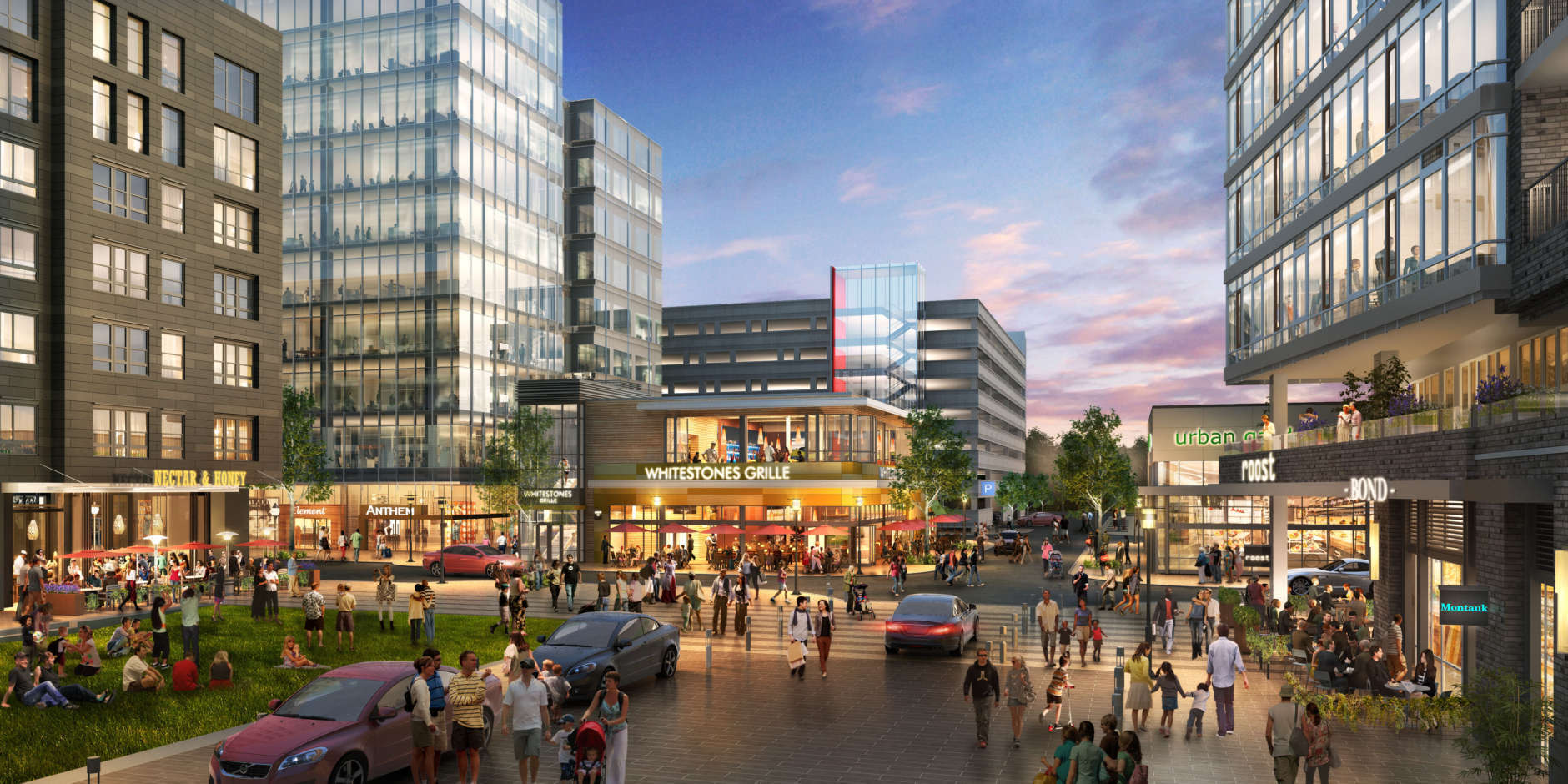 Final build-out is still about 20 years away, but when complete, the Downtown Columbia revitalization, approved by Howard County in 2010, will include 14 million square feet of mixed-use development comprised of 4.3 million square feet of commercial office space, 1.25 million square feet of street retail, more than 6,200 residential units and about 650 hotel rooms. (Courtesy Howard Hughes Corporation)