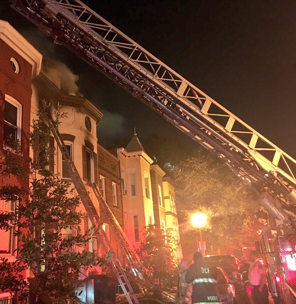 The fire struck two rowhouses, leaving eight residents displaced. No one was injured. (Courtesy D.C. Fire and EMS)