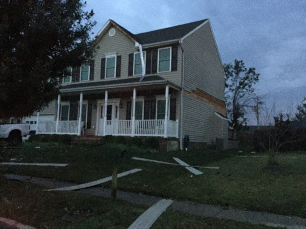 Houses were damaged from the storm that moved through Queen Anne's County, Maryland, early Monday. (WTOP/Kristi King)