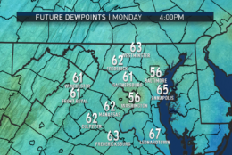 How the week feels will largely be determined by changes in the dew points. The RPM computer model shows us on the borderline of comfortable and sticky for Monday afternoon. On July Fourth, we'll be back into the muggy range. Remember, the higher the dew point, the more moisture there is in the air. (Data: The Weather Company. Graphics: Storm Team 4)