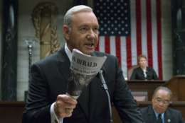 "This image released by Netflix shows Kevin Spacey in a scene from ""House Of Cards."" (David Giesbrecht/Netflix via AP)"