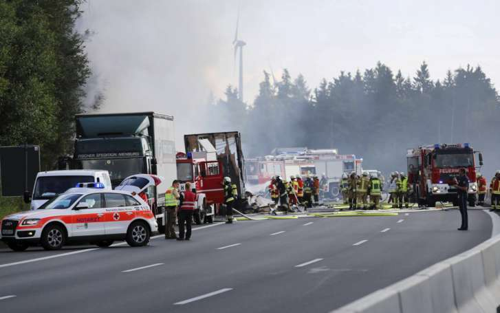 Germany: Tour Bus Burst into Flames, 17 Feared Dead