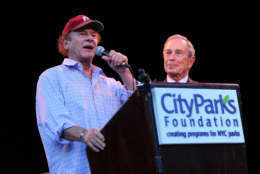 """NEW YORK - JUNE 08:  Musician Art Garfunkel and New York City Mayor Michael Bloomberg attend the 25th Anniversary Summerstage Gala """"The Music Of Simon & Garfunkel"""" at Rumsey Playfield, Central Park on June 8, 2010 in New York City.  (Photo by Jason Kempin/Getty Images)"""
