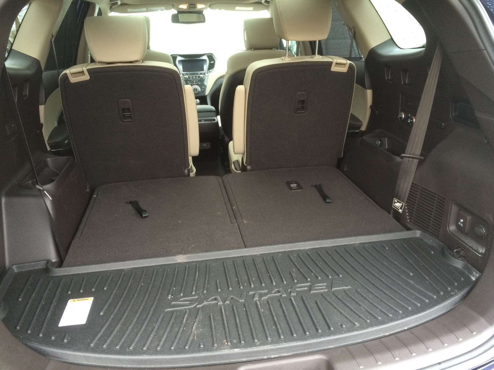 The third row is usable but not the largest in class, but there is a USB port and controls for the climate control. The rear cargo area is adequate but smaller than the Chevy. (WTOP/Mike Parris)