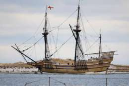 FILE - In this Dec. 12, 2014 file photo, the Mayflower II, a replica of the original ship that brought Pilgrims to Massachusetts in 1620, passes through a jetty as it is towed out of Plymouth Harbor in Plymouth, Mass. A partnership was announced Thursday, July 13, 2017, between the Society and the General Society of Mayflower Descendants to digitize and post ancestral records online. The number of people trying to determine whether they are descended from a Mayflower passenger is surging as the 400th anniversary of the Pilgrims' arrival in the New World approaches in 2020. (AP Photo/Stephan Savoia, File)