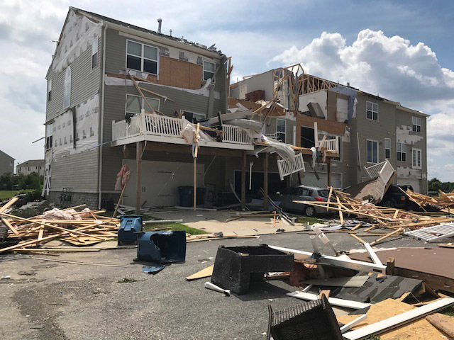 A violent storm tore away the roof on a newer condo building in Stevensillve, Maryland, on Monday, July 24, 2017. (WTOP/Steve Dresner)