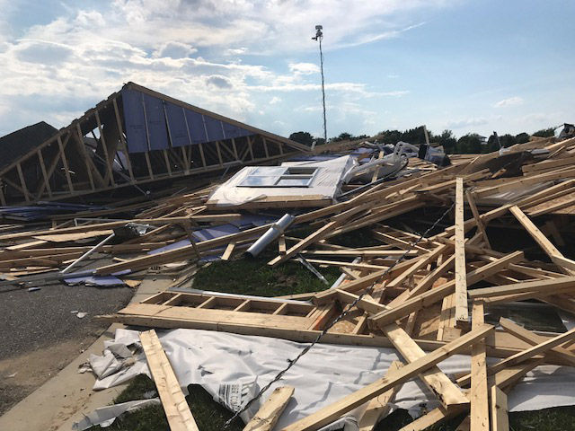 Building debris covers the ground after a tornado hit Stevensville, Maryland, on Monday, July 24, 2017. (WTOP/Steve Dresner)