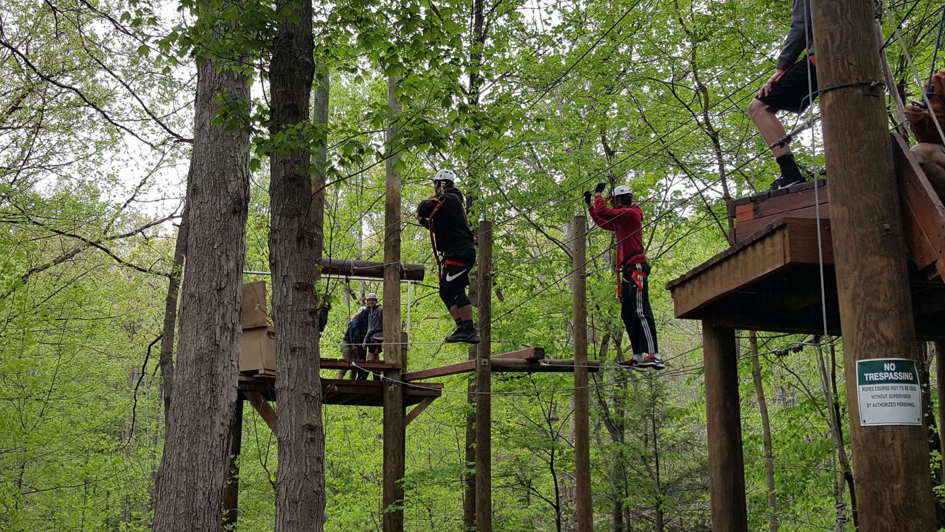 Participants in the inaugural Global STEM Challenges Program class at Thomas A. Edison High School develop team-building skills at Hemlock Regional Park. (Courtesy Scott Settar)