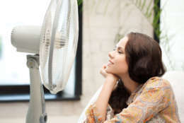 picture of happy and smiling woman sitting near ventilator