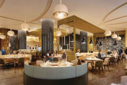 An interior rendering of David's Cafe by Todd English, named after The Cordish Companies' Chairman David Cordish, which will feature an eclectic menu of culinary creations inspired by David's global travels and favorite tastes. (PRNewsfoto/Live! Casino and Hotel)