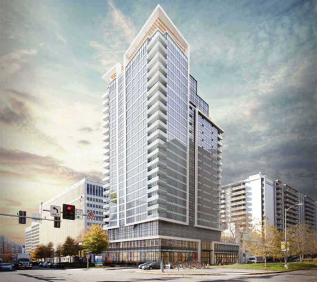 A 22-story apartment building could arrive soon in Crystal City at the Century Center office and retail complex. (Courtesy ARL Now via Lowe Enterprises)