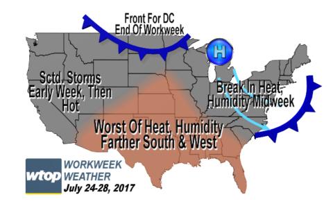Workweek weather: Hot start, but comfort, humidity relief coming