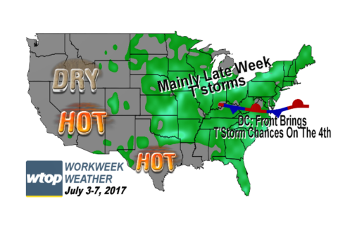 Workweek weather: Hot, humid with a few chances of storms