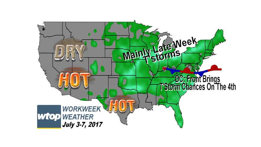 The first workweek of July is obviously abbreviated by the holiday for a lot of people, but for anyone who does have to work the weather won't interfere, for the most part. (WTOP/Storm Team 4)