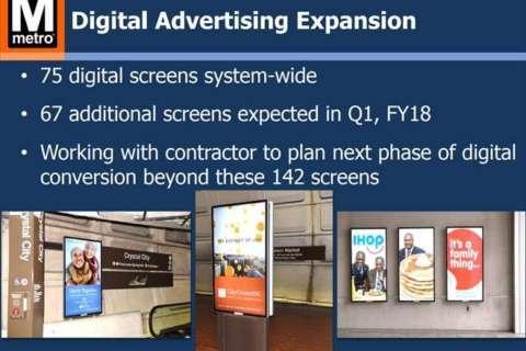 Regardless of station naming rights debate, Metro plans more digital ads