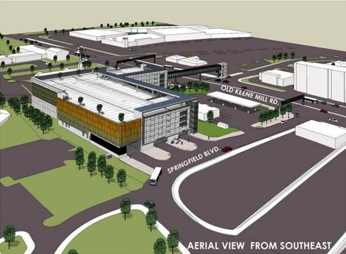 Renderings of an aerial view of the commuter parking garage. (Courtesy Fairfax County)