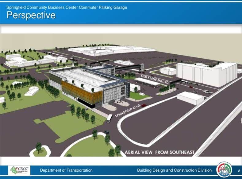 A photo rendering of the Springfield Community Business Center commuter parking garage. Fairfax County plans to start construction in fall 2019. (Courtesy Fairfax County)