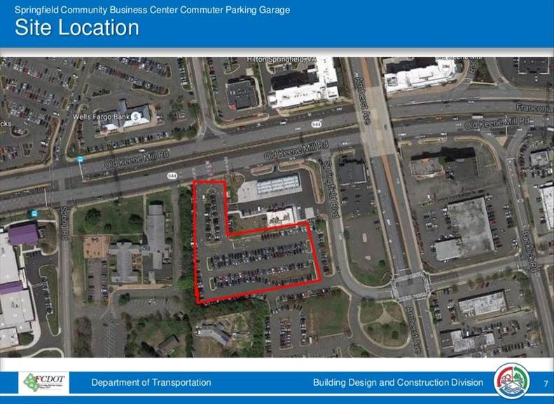 A photo of the location of the commuter parking garage. The garage is set to open in early 2022. (Courtesy Fairfax County)