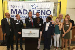 State Sen. Richard Madaleno Jr. announces his candidacy for governor of Maryland in a news conference in Rockville on July 17, 2017. (WTOP/Kristi King)