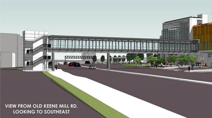 A photo rendering of the view of the commuter garage from Old Keene Mill Road looking southeast. (Courtesy Fairfax County)