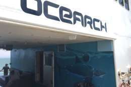 OCEARCH is also the name of the nonprofit group that operates the ship, tags and tracks sharks, and allows researchers access to the fish for study. (WTOP/Michelle Basch)