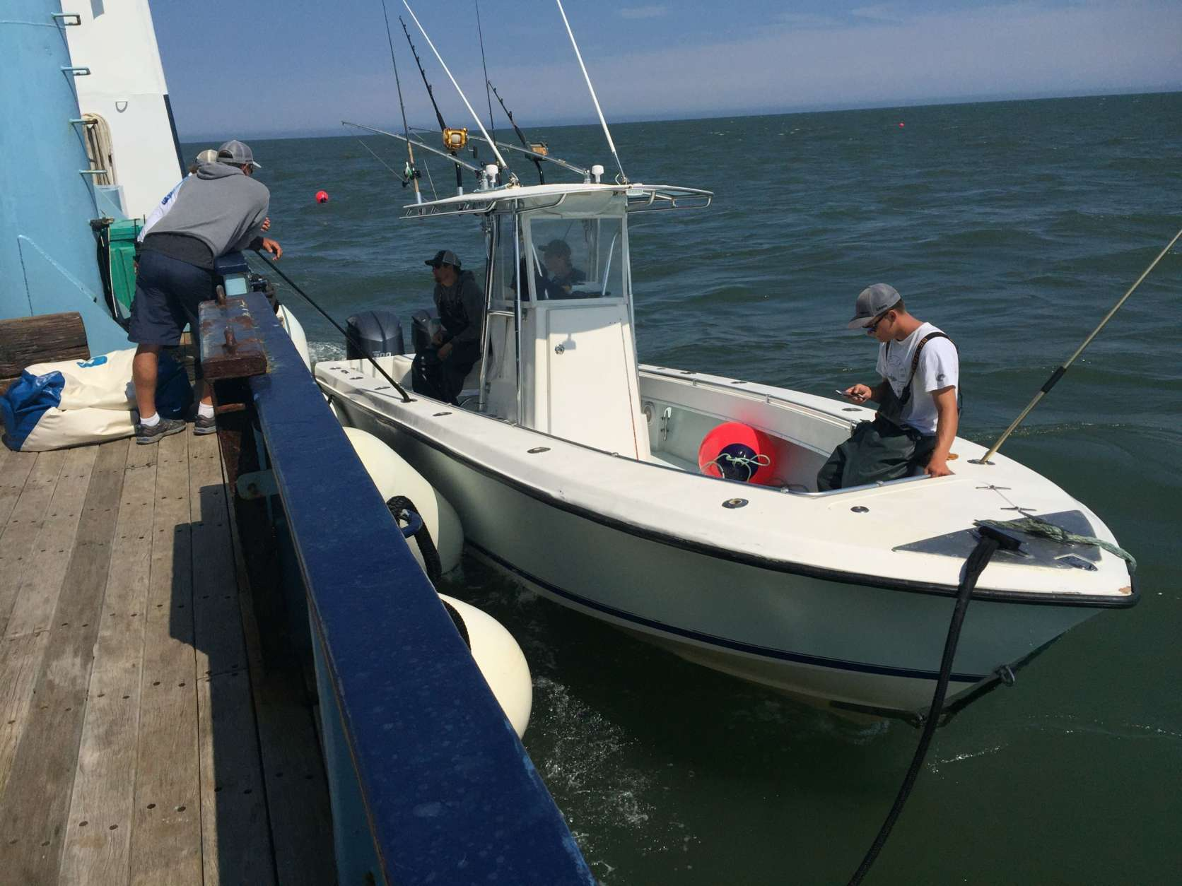 The smaller Contender is used by the OCEARCH team to catch sharks and tag them. (WTOP/Michelle Basch)
