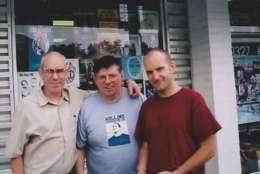 In 2002, at the closing of the Yesterday & Today shop, Dischord Records heads Jeff Nelson and Ian MacKaye flank Skip Groff. (Courtesy Skip Groff)
