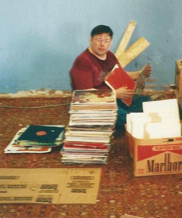 Skip Groff packing up one of his final boxes of albums, before turning Yesterday & Today shop back to his landlord in 2002. Today, Y&T sells records online. (Courtesy Skip Groff)
