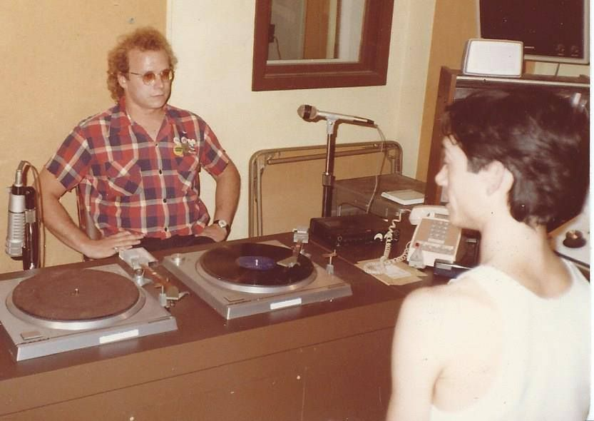 Mark Noone of Slickee Boys, with WHFS DJ Milo. Skip Groff and Ted Nicely produced the Slickee Boys EP. (Courtesy Skip Groff)