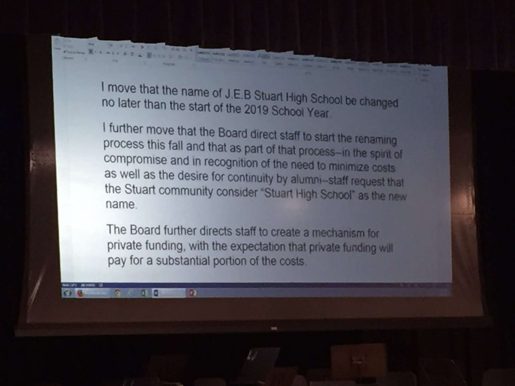 "The motion requests that ""Stuart High School"" be considered as the new name. (WTOP/Michelle Basch)"