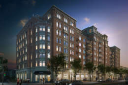A rendering of the luxury eight-story 13|U building at the intersection of 13th and U Streets in Northwest D.C. The apartment is now leasing, where rent for a penthouse runs to $11,000 a month.