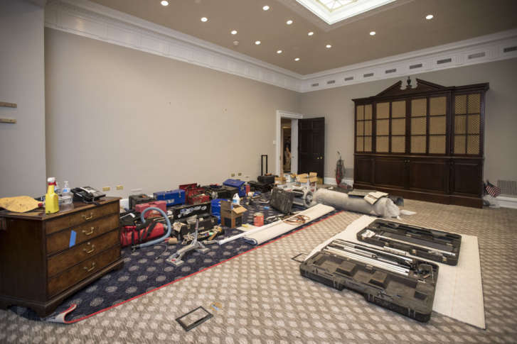 The Roosevelt Room In West Wing Of White House Is Undergoing Renovations While President Donald Trump Spending Time At His Golf Resort New