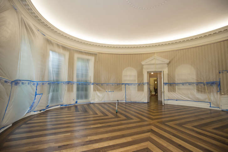 The Hardwood Floor Of Oval Office Is Resurfaced As West Wing White House In Washington Undergoes Renovations While President Donald Trump