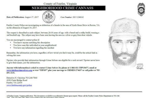 Fairfax Co. police release sketch of suspect in attempted sexual assault