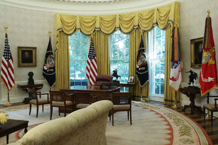 The Oval Office Of The White House Is Seen After Renovations Including New  Wallpaper Aug. 22, 2017 In Washington, DC. The White House Has Undergone A  Major ...