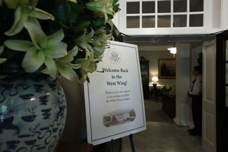 A Welcome Sign Is Seen At The Entrance Of The West Wing At The White House  Aug. 22, 2017 In Washington, DC. The White House Has Undergone A Major  Renovation ...