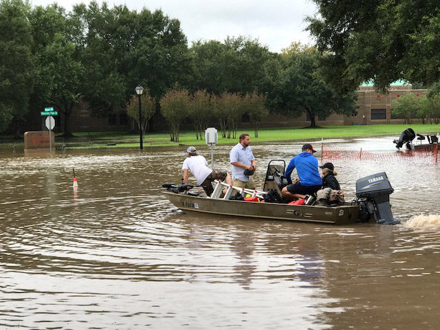 Residents in the Cinqo Ranch area on Houston's west side were issued a mandatory evacuation notice. (WTOP/Steve Dresner)