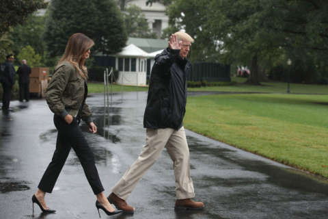 Photos: Trumps travel to Texas for Harvey briefings
