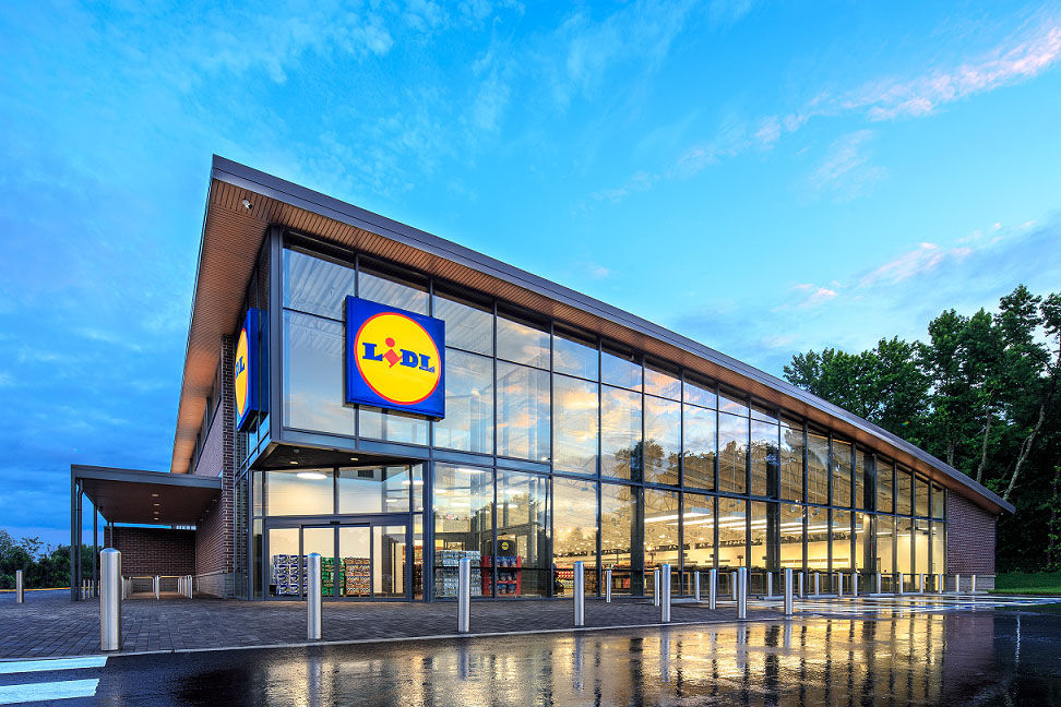 This photo provided by Lidl shows the exterior of a U.S. store. (Courtesy Lidl).