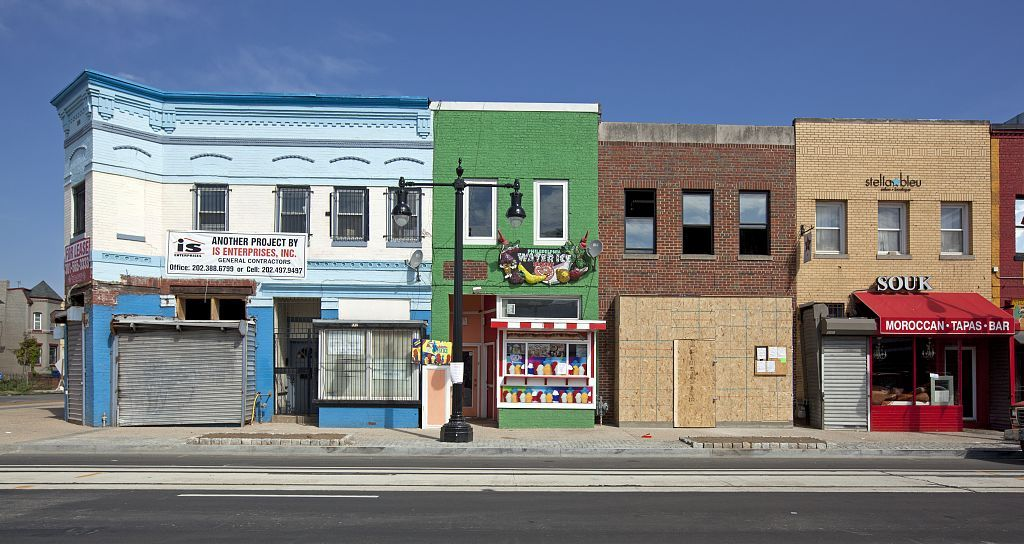 A 2010 photo of buildings on H Street NE near intersection with 12th St., NE, Washington, D.C.  (The George F. Landegger Collection of District of Columbia Photographs in Carol M. Highsmith's America, Library of Congress, Prints and Photographs Division)