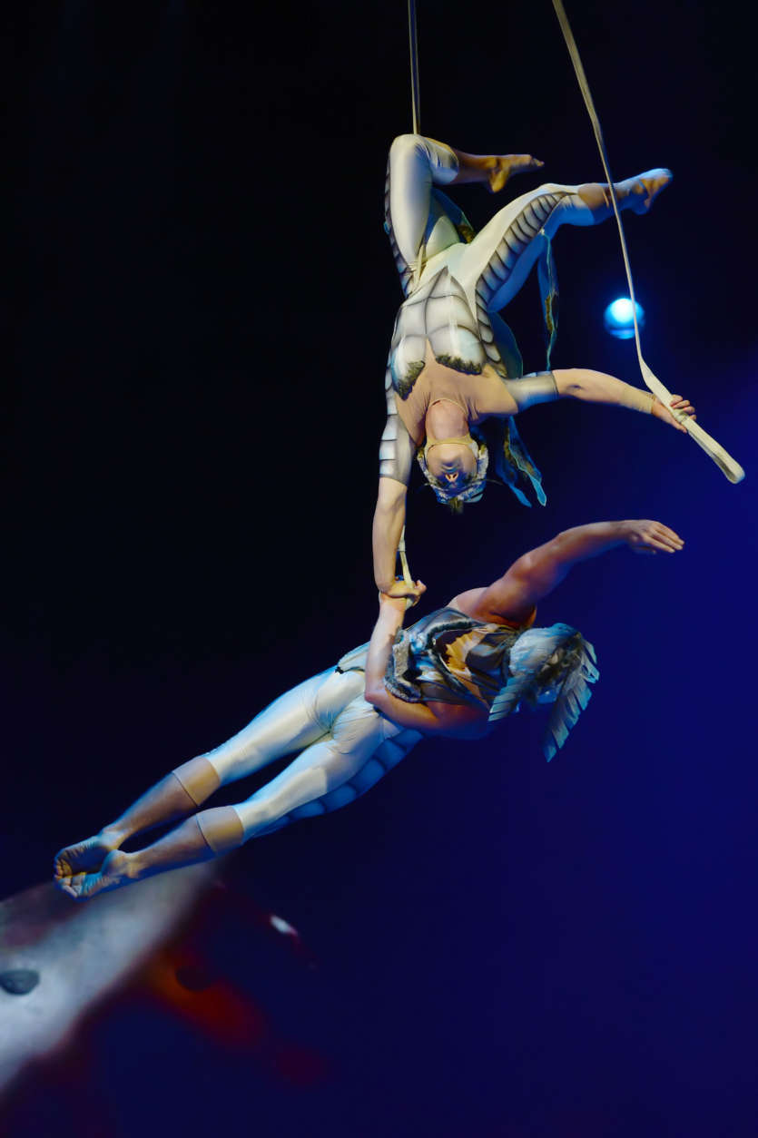 "Canadian artists Catherine Audy and Alexis Trudel perform an aerial ballet in Cirque du Soleil's ""OVO."" (Courtesy Shannon Finney/shannonfinneyphotography.com)"