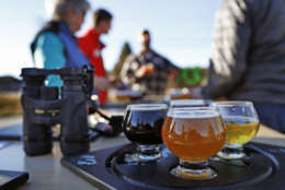 In this Sunday, Nov. 13, 2016 photo a group of birding enthusiasts finish discuss their day while sampling a flight of beers at the Maine Brewing Company in Freeport, Maine. The Maine Brew Bus tour group combines bird watching and craft beers into popular trips throughout southern Maine. (AP Photo/Robert F. Bukaty)