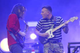 Nick Bockrath and Brad Shultz of Cage The Elephant performs on day one at Lollapalooza in Grant Park on Thursday, Aug 3, 2017 in Chicago. (Photo by Rob Grabowski/Invision/AP)