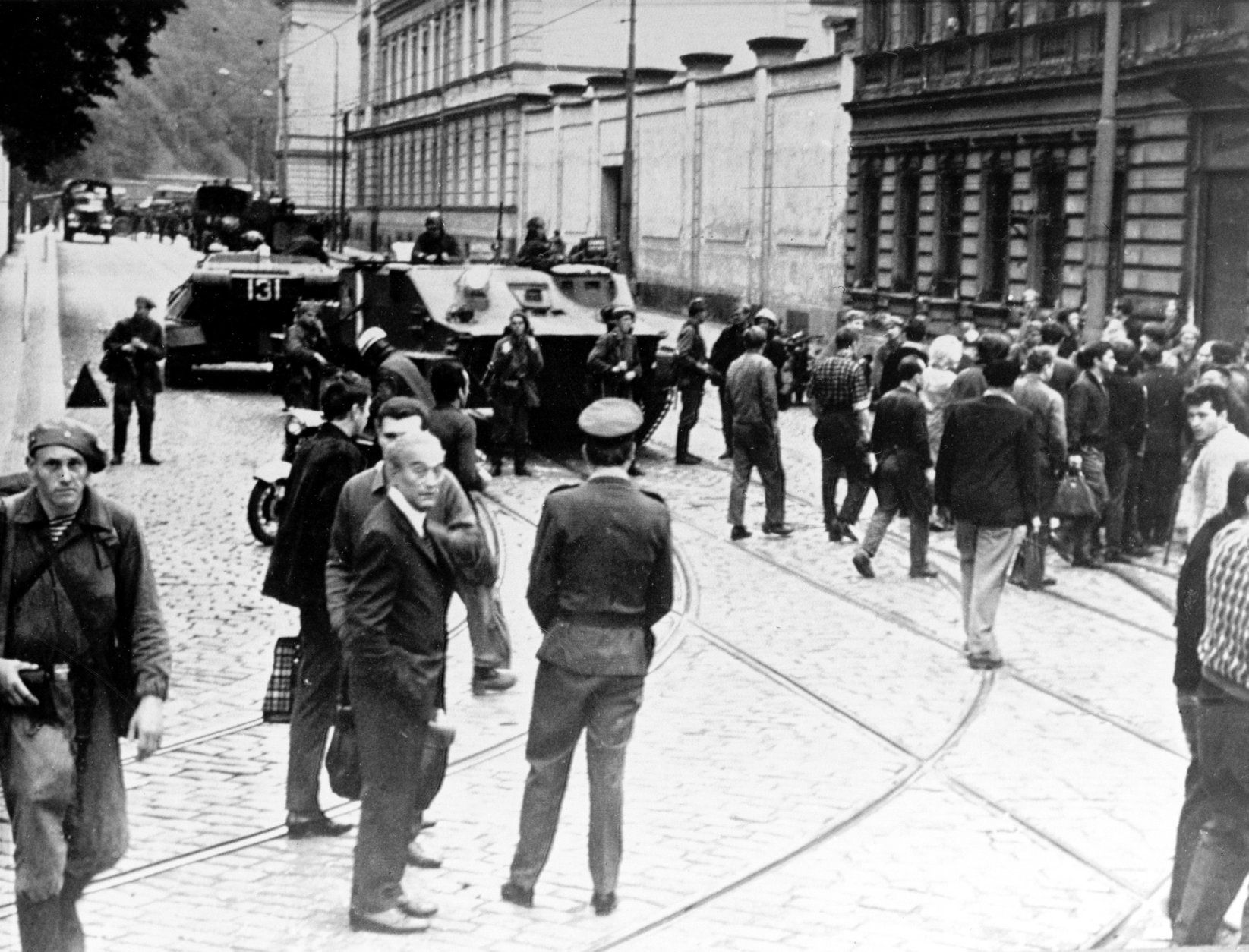 Tanks and troops from the Soviet Union stand in the middle of a street in Prague after the Soviet invasion of Czechoslovakia on Aug. 21, 1968, putting an end to Prague Spring reform.  (AP Photo)
