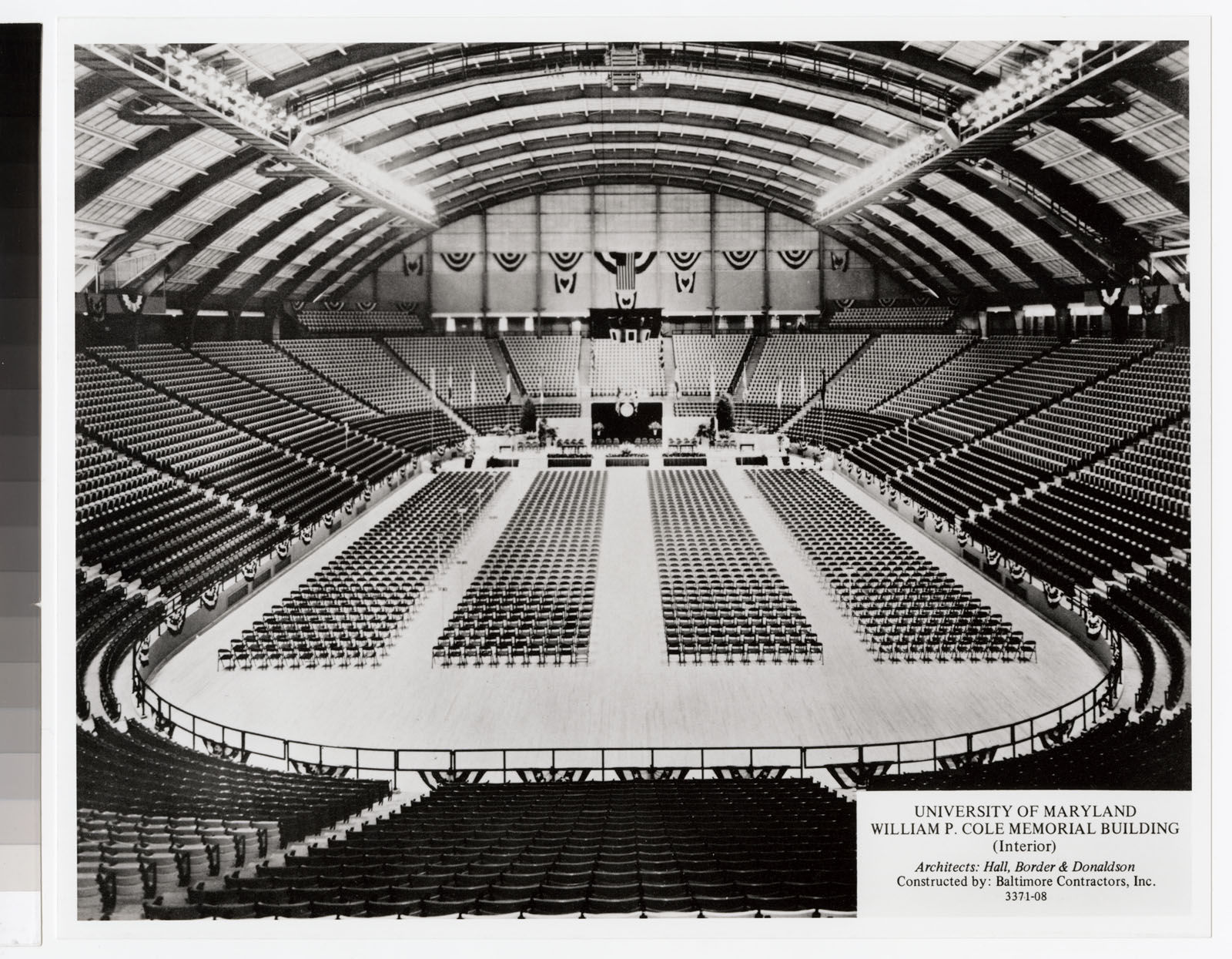 Cole Field House all decked out for convocation, circa 1955. (Courtesy University of Maryland College Park)