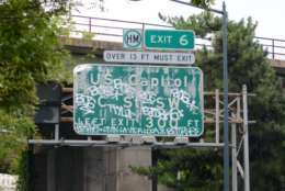 Conveniently located off the Southwest Freeway is Exit 6 toward USB Capitol BJSCT 06W6+TYJ OFVIDALOKA. The left exit ramp near the 3rd Street Tunnel suffered a year-long identity crisis back in 2015 when <a href=http://wtop.com/dc-transit/2015/08/exclusive-southeast-southwest-freeway-signage-still-askew/slide/1/>DDOT mislabeled the exit</a> along the freeway as Exit 2B instead of Exit 6 back in 2015. (WTOP/Dave Dildine)